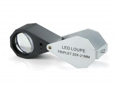 PB.5033-LED Achromatische Lupe 20x, triplet. Linse Ø 21 mm. Weiße LED Beleuchtung